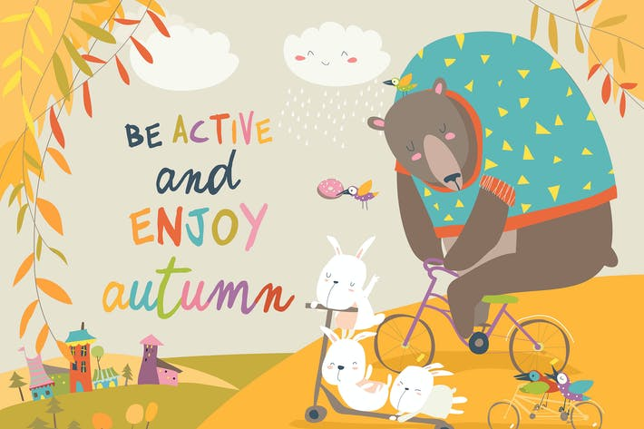 Thumbnail for Cute animals riding a bicycles in autumn park.