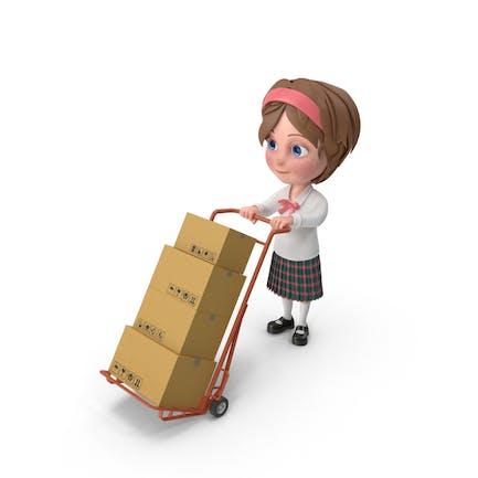 Cartoon Girl Meghan Carrying Boxes