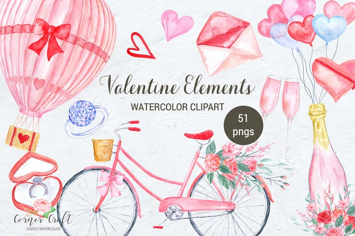Cover Image For Watercolor Valentine Elements
