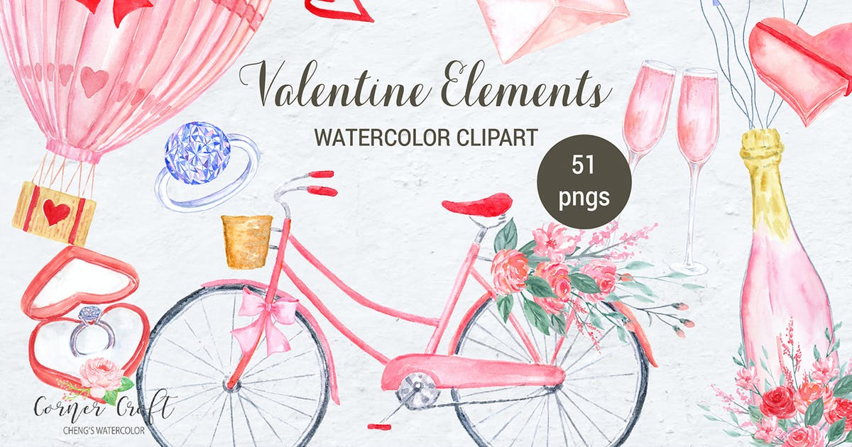 Download Watercolor Valentine Elements by cornercroft