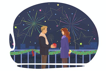 The guy gives a gift to the girl on the fireworks