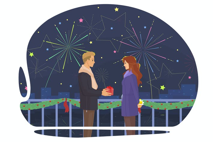 Thumbnail for The guy gives a gift to the girl on the fireworks