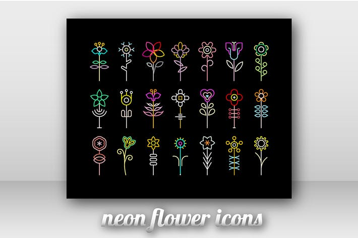Thumbnail for Neon Flower Vector Icon Set