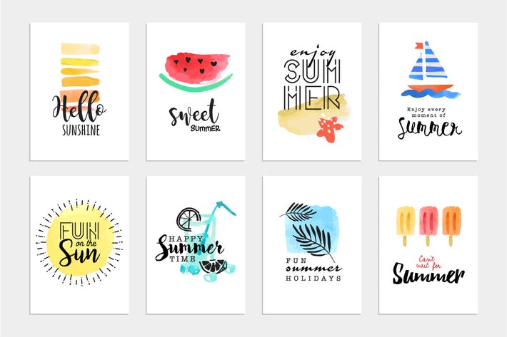 Thumbnail for Set of hand drawn summer cards and banners