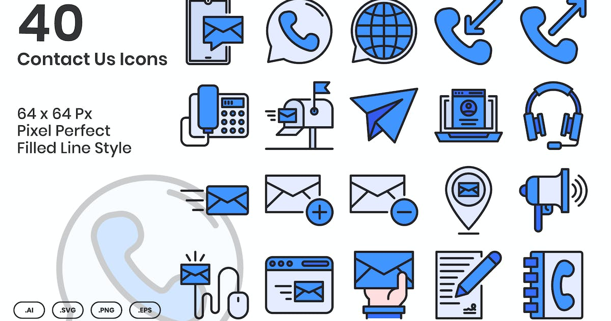 Download 40 Contact Us Icons Set - Filled Line by kmgdesignid