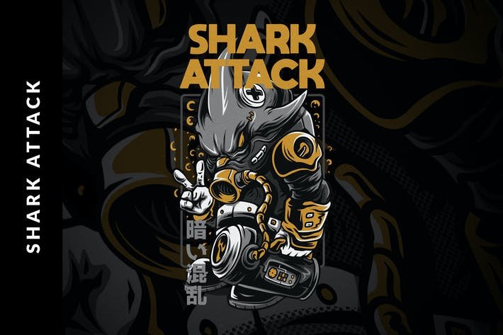 Thumbnail for Shark Attack T-Shirt Design