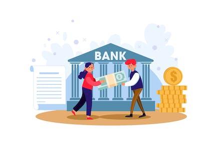 Man Borrowed Money From Bank Illustration