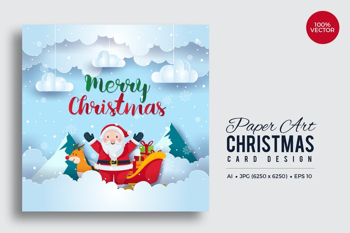 Thumbnail for Merry Christmas Square Vector Card Vol.12