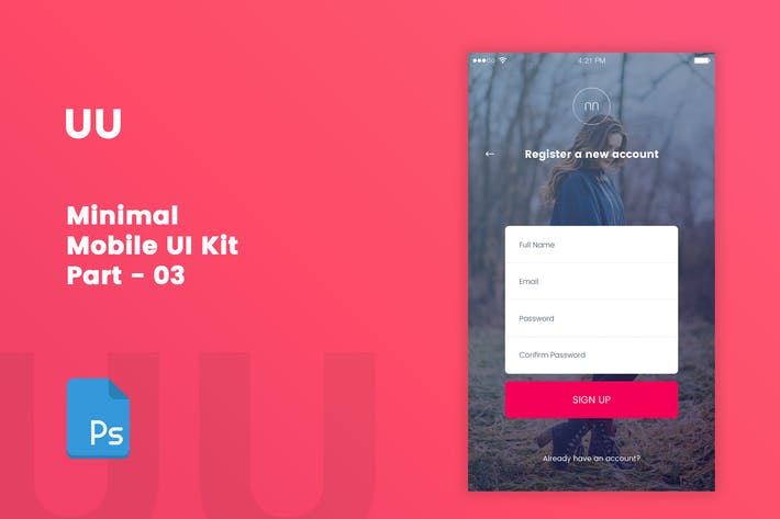 Cover Image For UU - Minimal Mobile UI Kit Part 03 Sign Up form