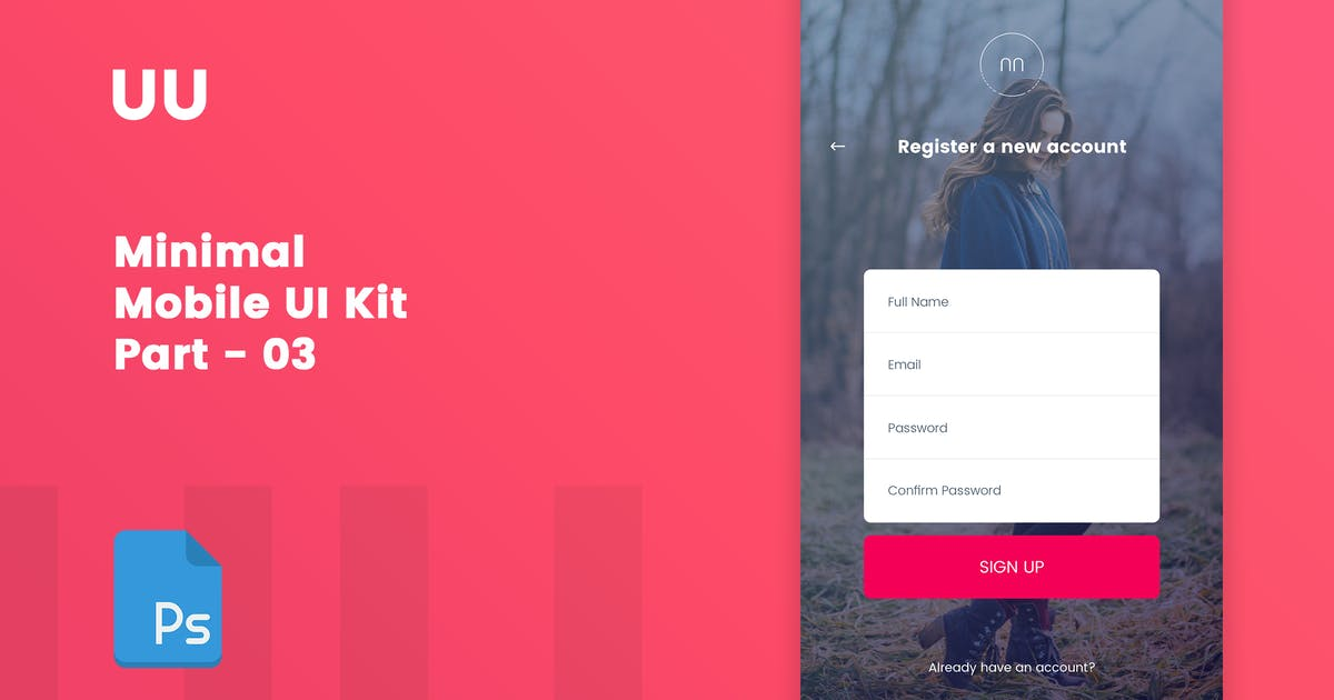 Download UU - Minimal Mobile UI Kit Part 03 Sign Up form by bigpsfan