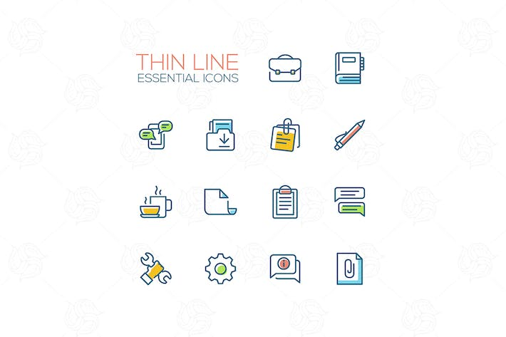 Thumbnail for Business, Office - Thin Single Line Icons Set