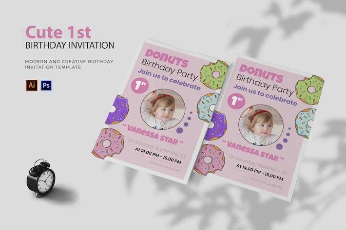 Thumbnail for Donut 1er mignon - Invitation d'anniversaire