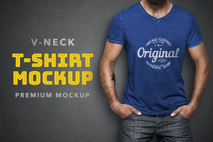 Thumbnail for V-Neck T-Shirt Mockup