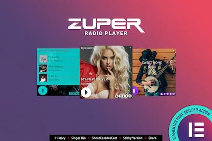 Zuper - Shoutcast Icecast Radio Player - Elementor