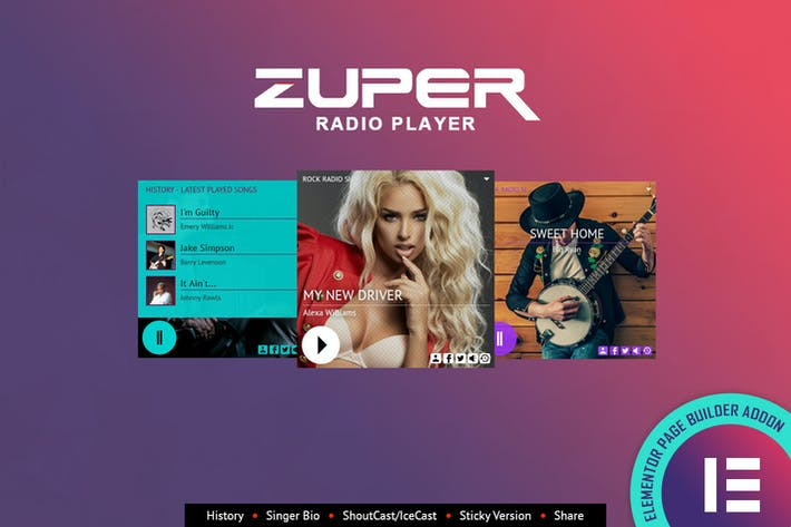 Thumbnail for Zuper - Shoutcast Icecast Radio Player - Elementor