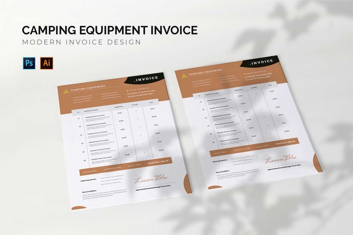 Thumbnail for Camping Equipment - Invoice Template