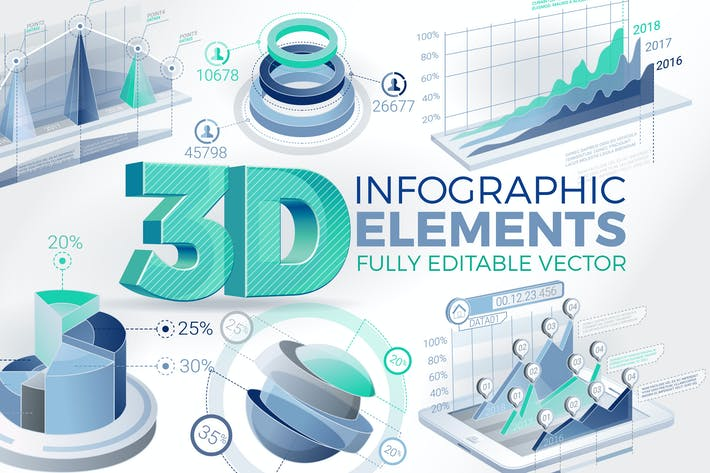 Thumbnail for 3D Corporate Infographic Elements