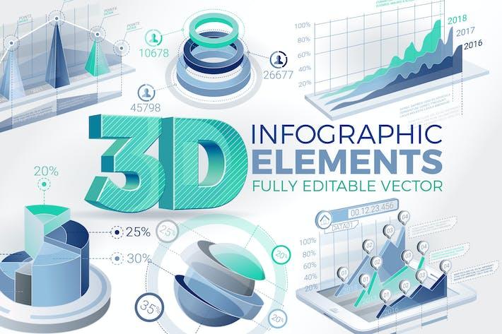 Thumbnail for 3D Unternehmens- Infografik-Elemente