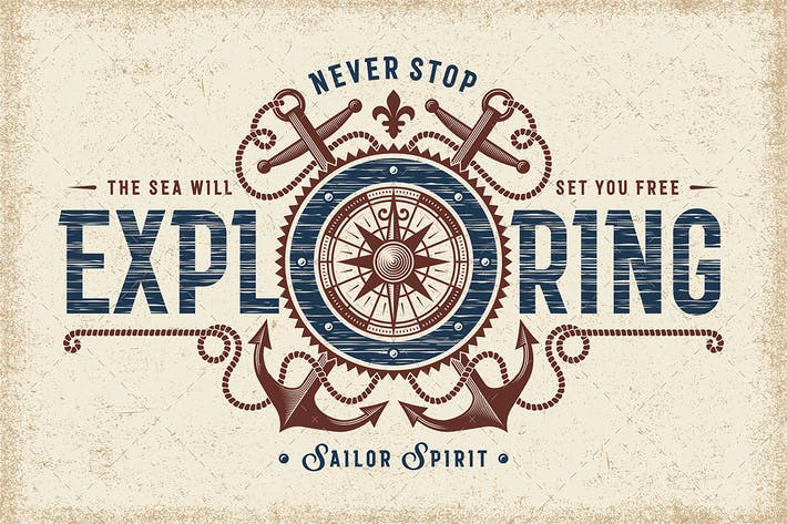 Thumbnail for Vintage Never Stop Exploring Typografie