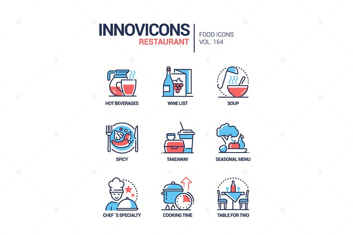 Thumbnail for Restaurant - modern line design style icons set