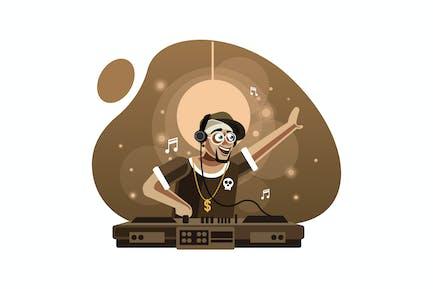 DJ in headphones playing music on turntable