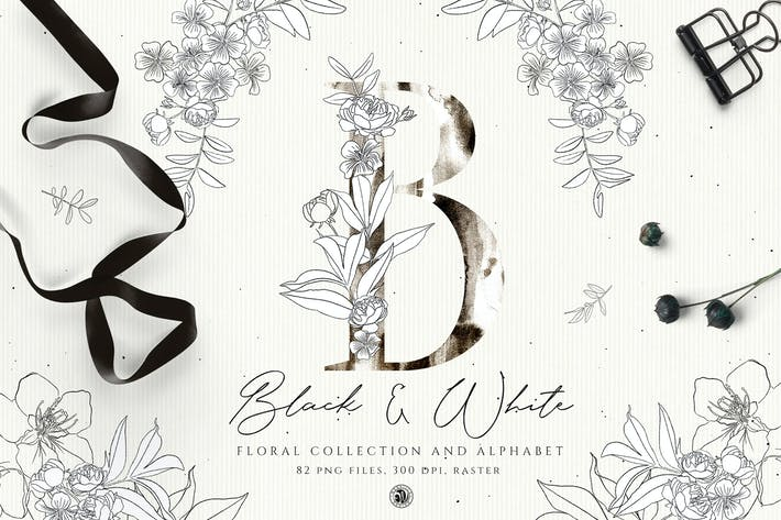 Thumbnail for Alfabeto floral blanco y negro