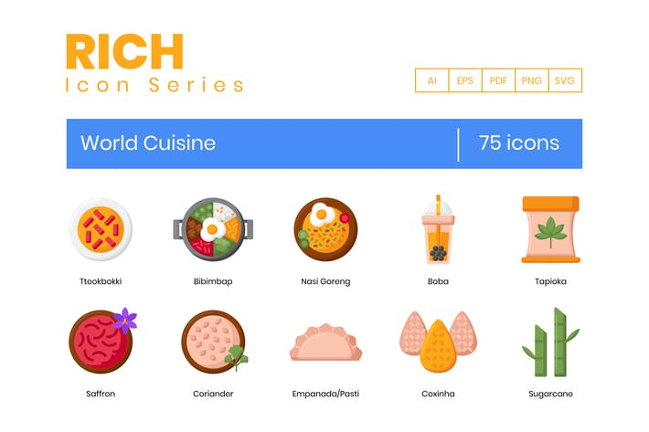 75 World Cuisine Icons - Reiche Serie