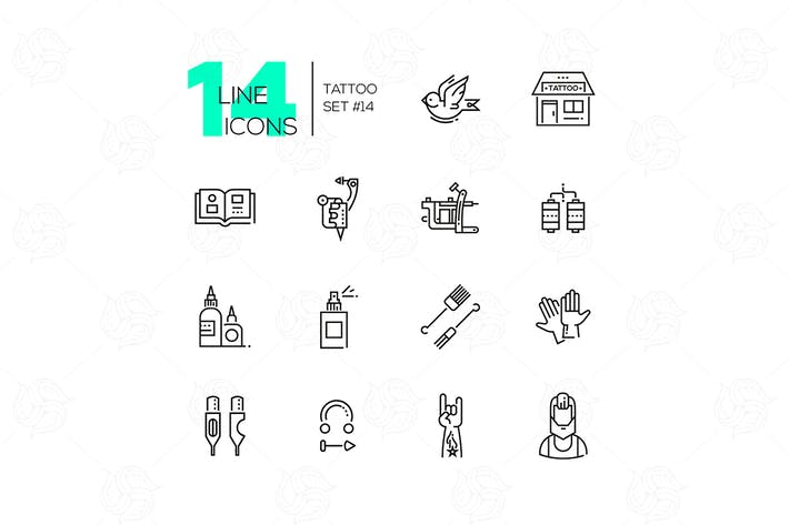 Thumbnail for Tattoo Studio - line icons set