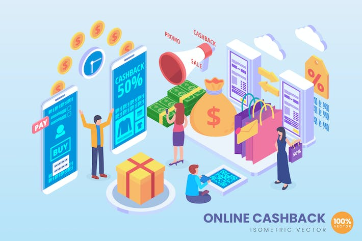 Thumbnail for Isometric Online Shopping Cashback Vector Concept
