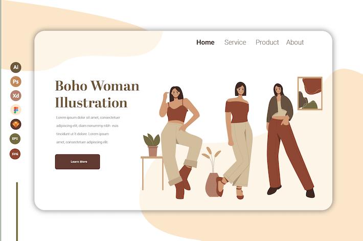Thumbnail for Boho Woman Vol 12 - Landing Page Template