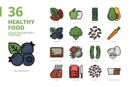 Conjunto de iconos de estilo contorno lleno de alimentos saludables