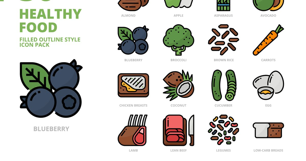 Download Healthy Food Filled Outline Style Icon Set by monkik