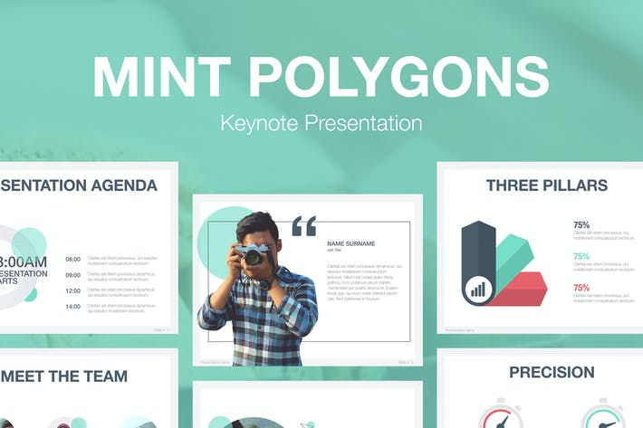 Mint Polygons Keynote Template By Jumsoft On Envato Elements