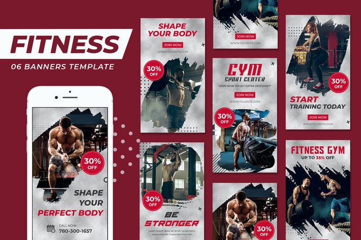 Fitnessstudio Fitness Instagram Storys Vorlage