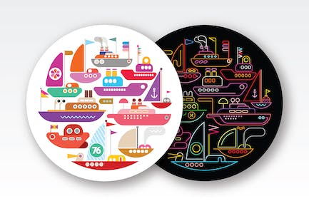 4 Ships and Yachts round shape vector designs