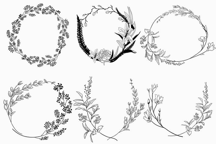 Thumbnail for Geometric vector floral wreath. SVG, EPS, PNG.