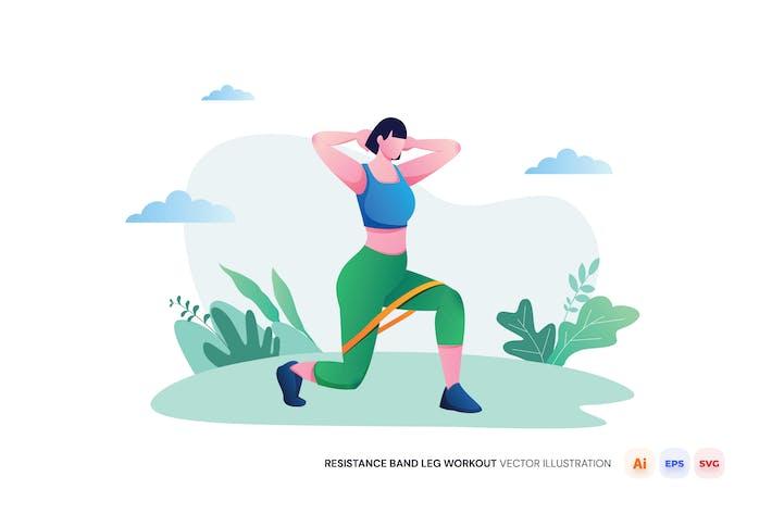 Resistance Band Leg Workout Vector Illustration