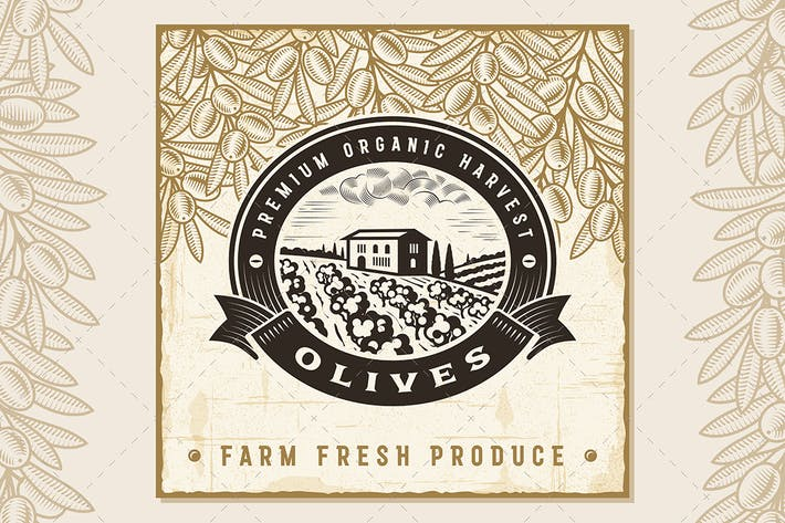 Thumbnail for Vintage Olive Harvest Label
