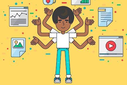 Ilustración de especialistas en TI afroamericanos