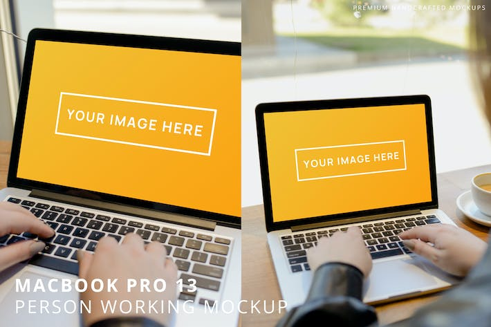 Thumbnail for MacBook Pro 13 Person Working in Cafe Mockup