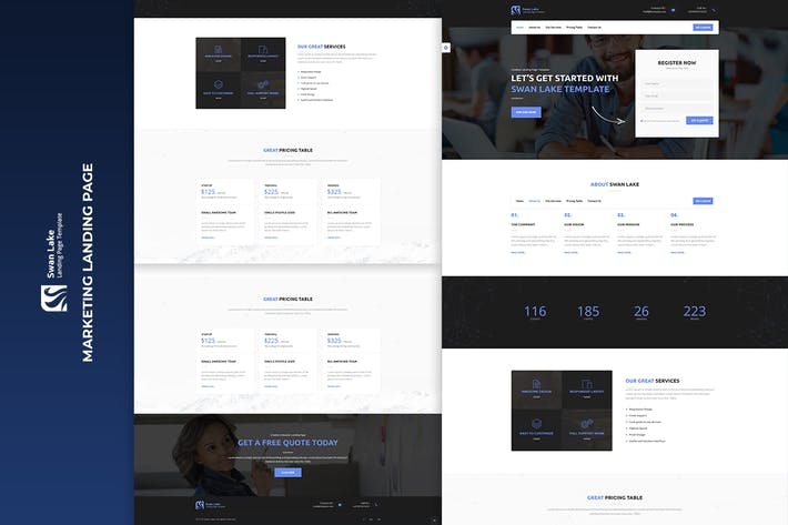 Thumbnail for Swan Lake - Lead Generation Marketing Landing Page
