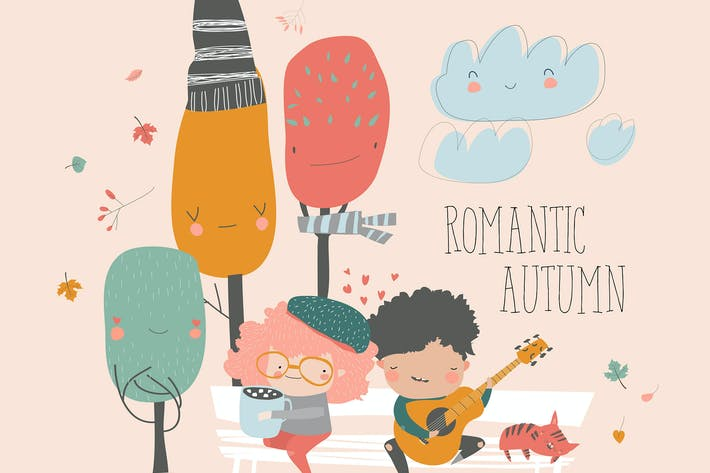 Cover Image For Boy plays guitar for a girl in the autumn park.