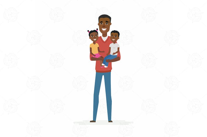 Thumbnail for African father with babies - isolated illustration