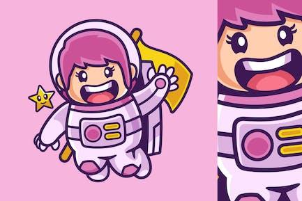 Waving Astronaut Girl Cartoon Character
