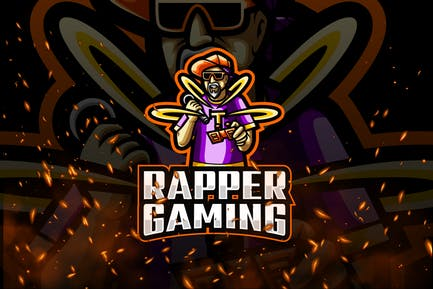 Rapper Gaming E-Sport and Sport Logo Template