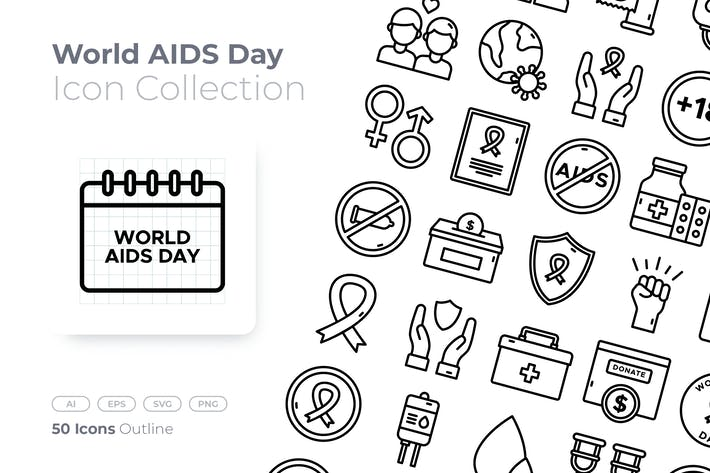 World AIDS Day Outline Icon