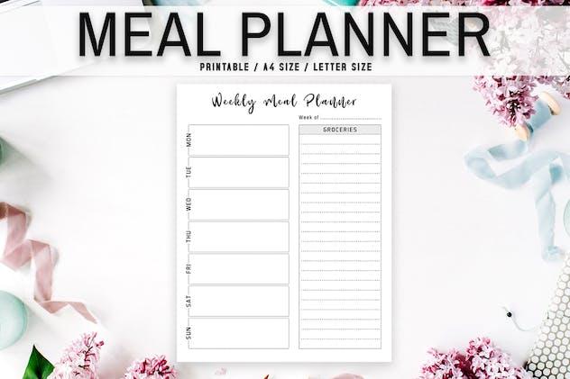 Minimal Meal Planner Printable Template