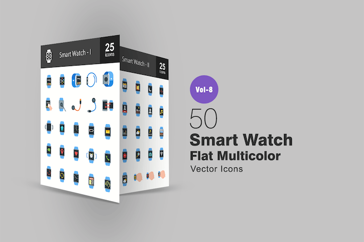 Thumbnail for Smart Watch Flat Multicolor  Icons