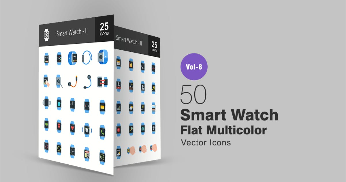 Smart Watch Flat Multicolor  Icons by Unknow
