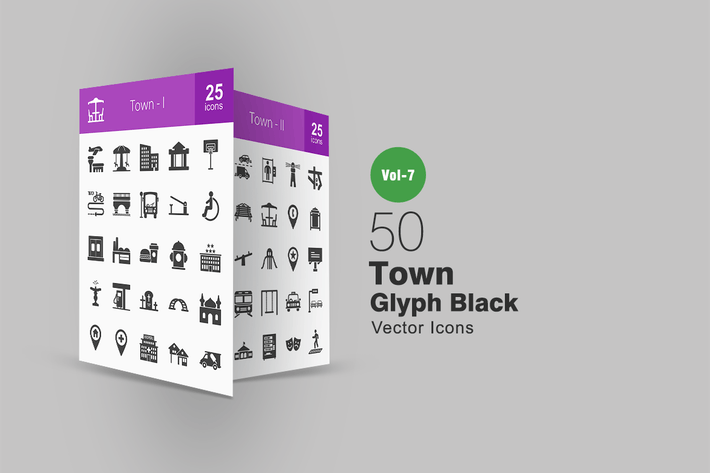 Thumbnail for 50 Town Glyph Icons